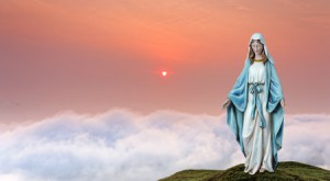 57612972 - statue of the virgin mary over heavenly sky concept of religion