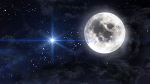 large moon with blue planet star cross